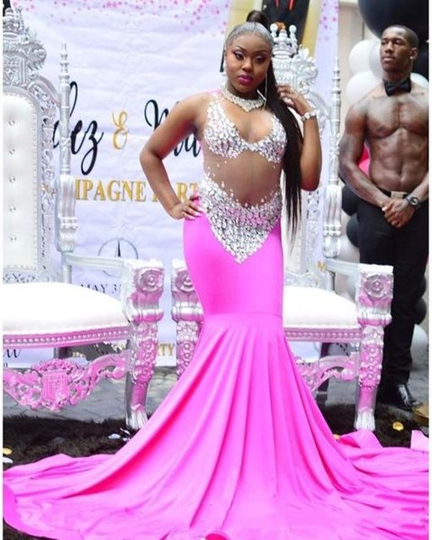 Amazing Hot Pink See through Prom Evening Dresses Sheer Neck Mermaid Crystal Rhinestones Long Cheap Formal Pageant Dress For Black girls