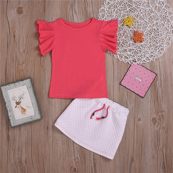 Summer cute Girl kids clothes Set girl Flying Sleeve Red T-shirt Tops+Checked skirt 2 pieces sets kids designer clothes girls JY558