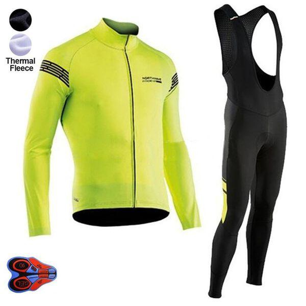 2019 Pro Winter thermal Fleece NW Team Cycling Jersey Long Sleeve Jerseys Cycling Bib Pants Set Clothes 9d Gel Pad kits
