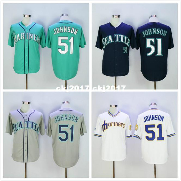 51 Randy Johnson Jersey White Gray Green Navy Blue