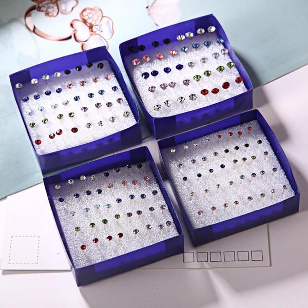 20 paires / ensemble coloré boucles d'oreilles en cristal ensemble pour les femmes bijoux strass Piercing boucles d'oreilles kit pack beaucoup Bijouteria brincos