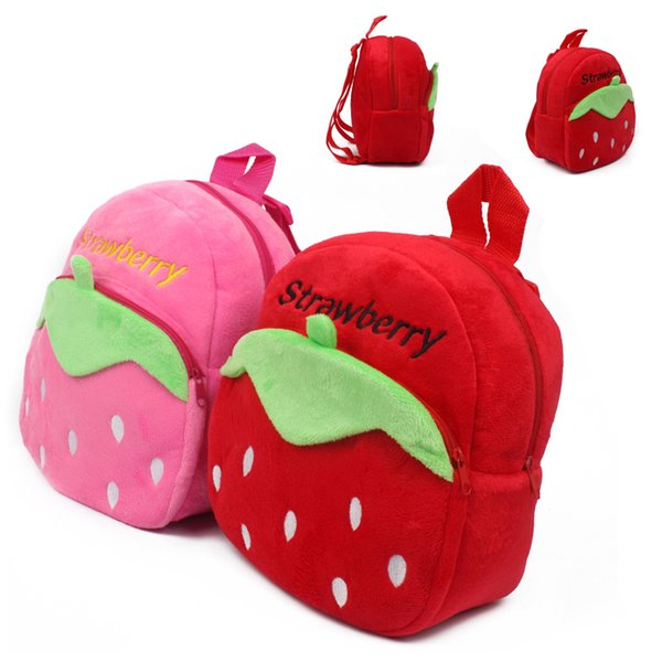 Special Purpose School Bags Cartoon pink/red strawberry pattern plush backpack school bag baby cute mini candy for kindergarten boy girl
