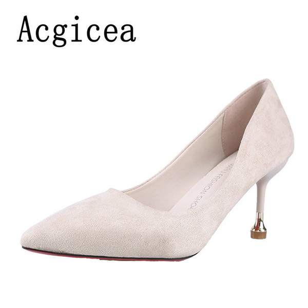 Dress Shoes 2019 New Concise Women Pumps High Heels 3 Colors Woman High Quality Autumn Comfortable Ladies Basic Footwear For Walking