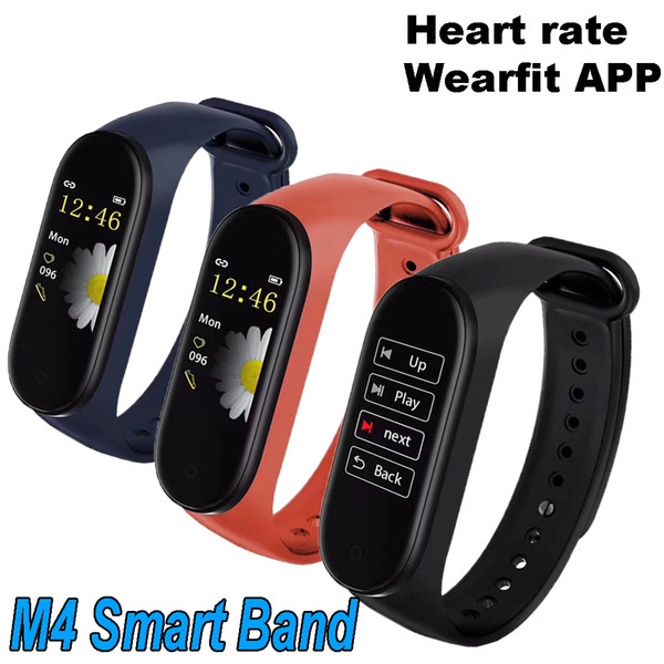 Best Quality M4 Smart Band Fitness Tracker Watch Sport bracelet Heart Rate Wearfit App Clip-on Charger Smartband Monitor Health Wristband