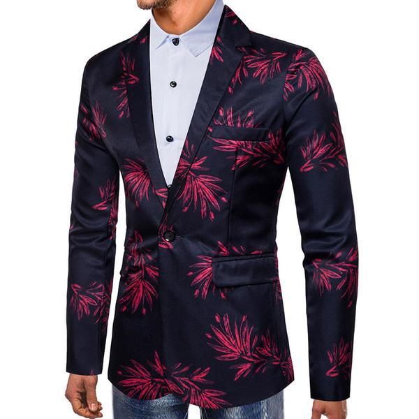 Мужская мода осень зима леопардовым принтом с длинным рукавом пиджаки топ блузка офисы классический костюм формальная куртка человек L15 #