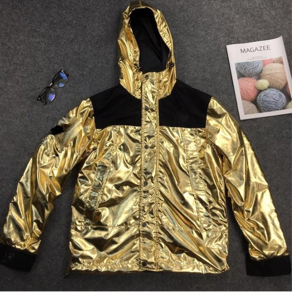 18SS liquid metal jacket gold silver rose gold metal men and women couple outdoor jacket mens designer jackets mens designer tracksuits