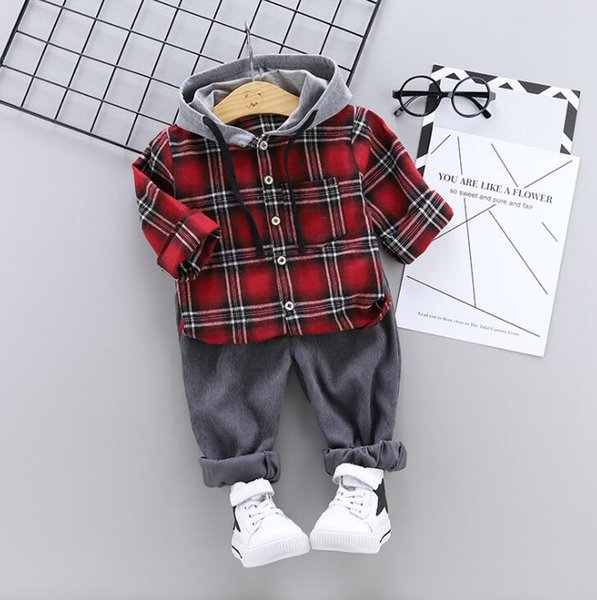New Spring and Autumn Children's Suit of 2019 Two-piece Suit for 1-4cm -year-old Babies with Chequered Hat Guard Long Sleeves and Trousers