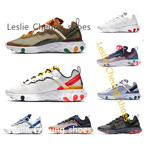 best selling react element 87 55 running shoes static for men women Moss Sail triple black white Taped Seams Blue fashion mens trainers sports sneaker