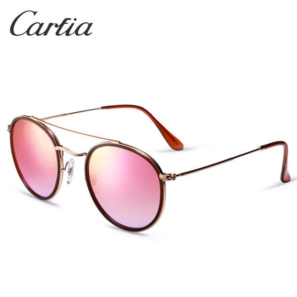 New Arrial 3647 sunglasses brand designer sunglasses metal frame glass lense 51mm sunglasses for women Round double Bridge gradient 4 colors