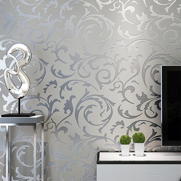 Gri Klasik Lüks 3D Çiçek Kabartmalı Dokulu Duvar Kağıdı Modern Duvar Kağıdı Oturma odası Yatak Odası Ev Dekor Için