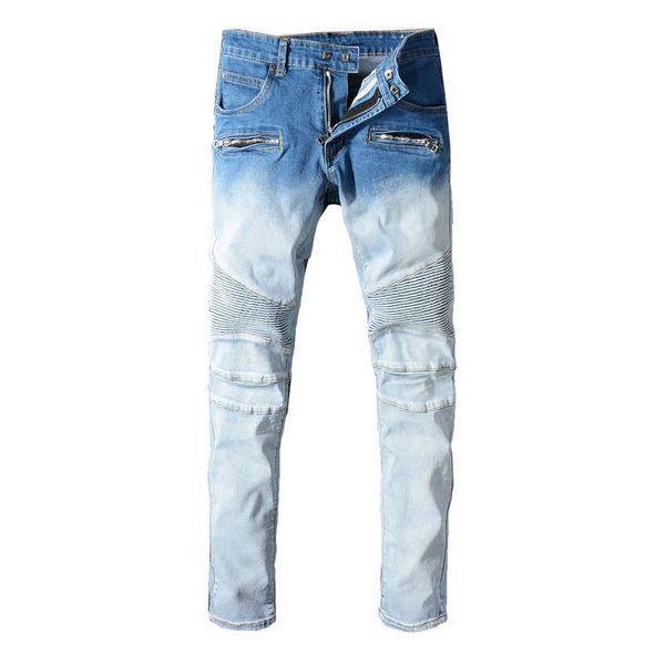Moda Streetwear Erkekler Robin Kot Beyaz Mavi Yıkama Eklenmiş Tasarımcı Hip Hop Kot Erkekler Kargo Pantolon Çok Cepler Biker Jeans Homme Boyutu 29-42