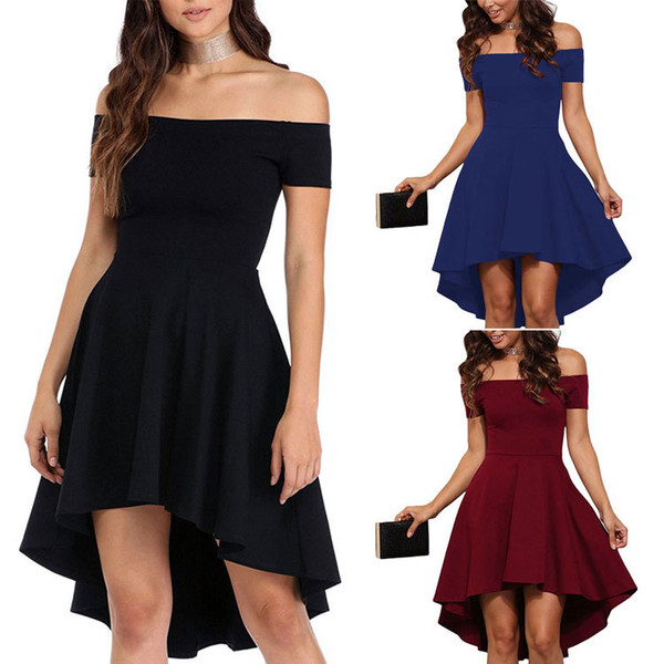 Spring 2018 European and American women's dress dress with shoulder, short sleeve and swallow tail dress