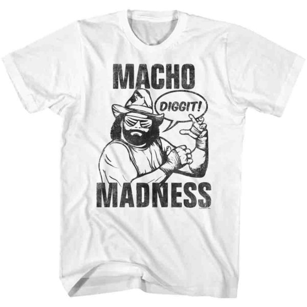 Macho Man Randy Savage Wrestling T-Shirt 100% sous licence DIGGIT Loose Noir Hommes