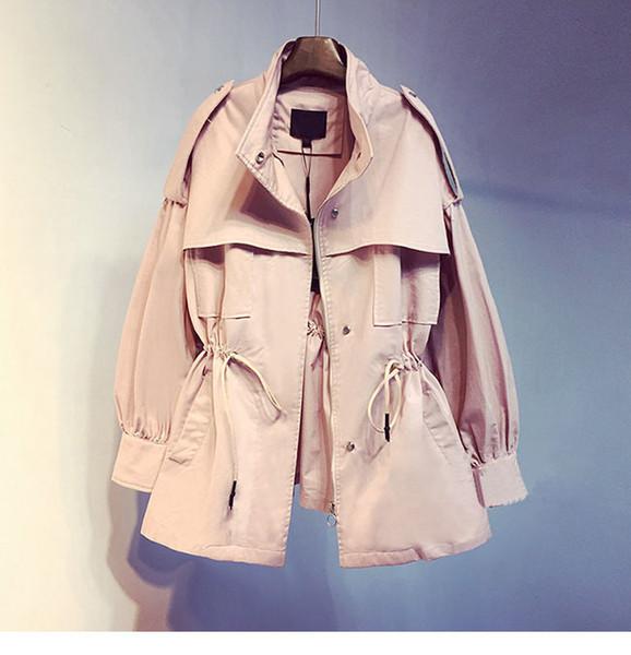 Stil İngiliz Pembe Orta Trençkot Kadın Palto Rahat Giyim Sonbahar Kadın Ceket Rüzgarlık Tasarımcı Üst W526