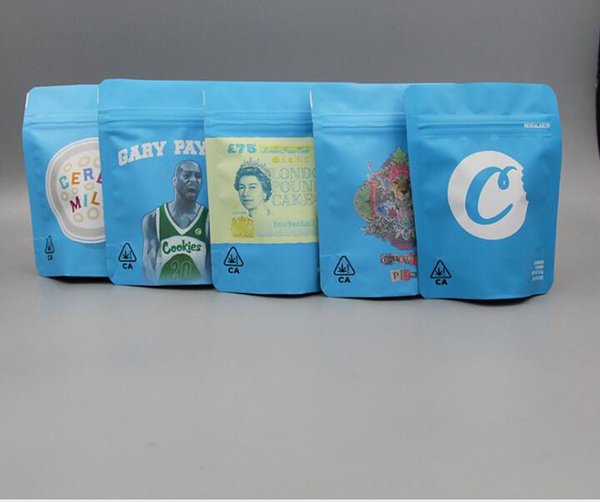 best selling 500pcs COOKIES California SF 8th 3.5g Mylar Childproof Bags 420 Packaging Gelatti Cereal Milk Gary Payton Cookies Bag size 3.5g #32569