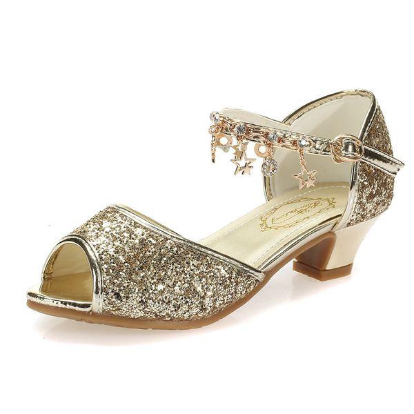 Rose Filles Sandales Enfants Strass Chaussures À Talons Hauts De Mode Enfants Chaussures Dorées Pour Les Filles Sandales Taille 28-37