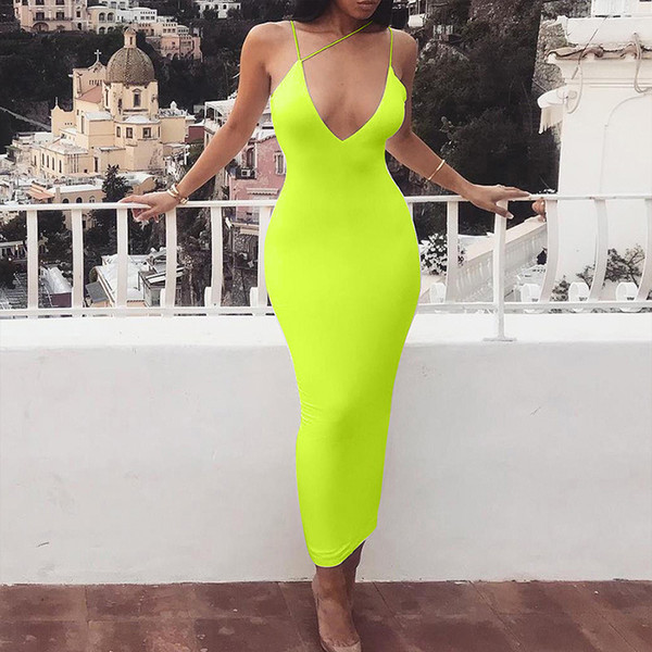 really comfortable authentic half price 2019 Summer Long Dress Solid Neon Green Beach Dress Tunic Maxi Women Strap  Spaghetti Wrap Vestidos Ladies Party Dresses Summer Dresses Online Shop ...