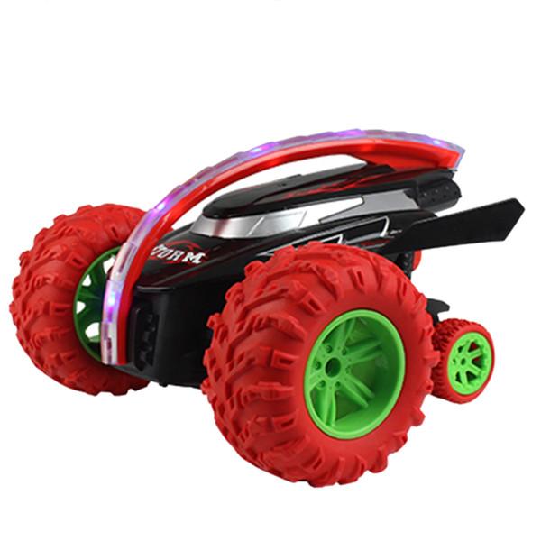 Vendita all'ingrosso Shark Head 360 Girevole Flippable Remote Control Stunt Car Toy con 3 ruote regalo per i bambini - rosso