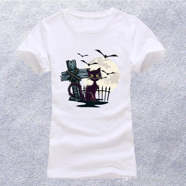 Verano Mujer manga corta lindo gato bordado camisetas o-cuello tops para niñas