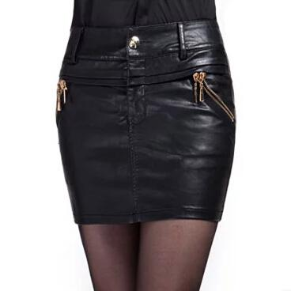 Fashion Woman Skirts European Style Female Autumn High Street Stylish Black PU Leather Skirt