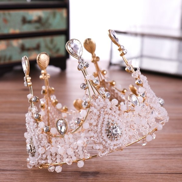 Crystal Queen Diadem Round Big Crown Bride Headdress Luxurious Princess Bride Crystal Wedding Crown Diadem Gold Tiaras