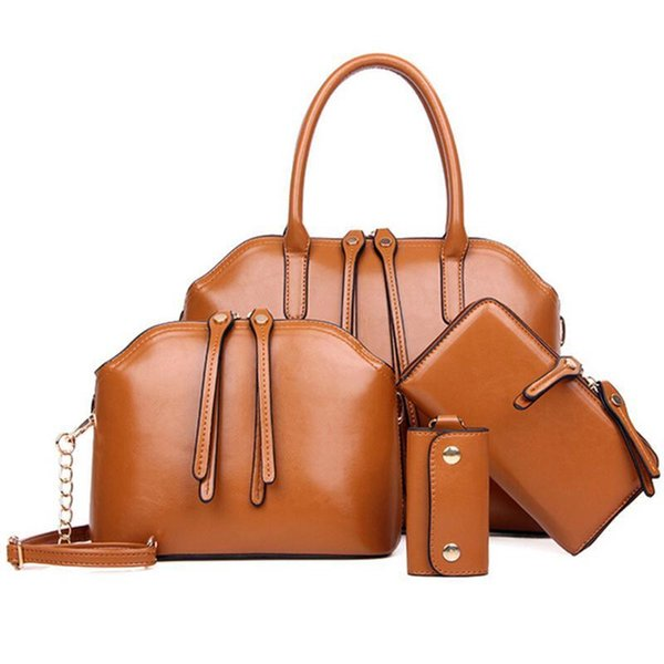 Wholesale-Nice New Vogue Wax Oiled Composite Leather Bag Shoulder Crossbody Bag+Women Messenger Bag+Purse+Wallet 5 Sets Bolsa Feminina