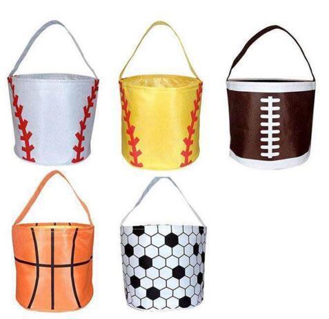 Пасхальные корзины Спорт Холст Сумки Футбол Баскетбол Бейсбол Американский футбол софтбол Bucket Реверсивный Ткань для хранения сумки 5 цветов GGA1701