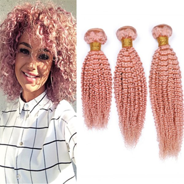 Virgin Brazilian Pink Curly Human Hair Weave 3 Bundles Deals Kinkys Curly Colored Light Pink Virgin Hair Double Weft Extensions 300g
