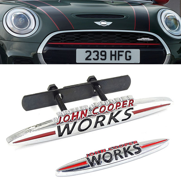 10 p de Metal John Cooper Works Frente Emblema Emblema JCW Logotipo Auto Etiqueta Do Carro Decalque Para Mini Cooper R50 R52 R57 R58 R6 F55 F56