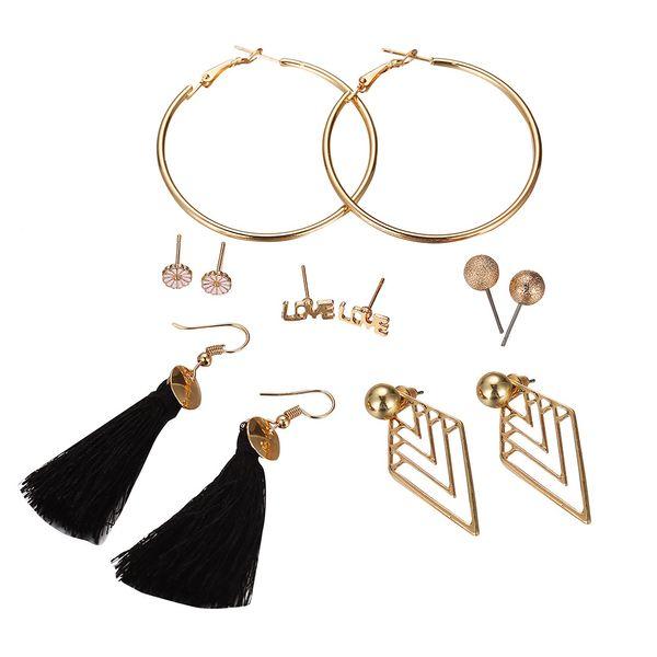 Pinksee 6 Pair Bohemia Stud Earrings Vintage Flower Rhinestone Earrings Set for Girls Women