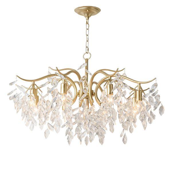 American Luxury Crystal Chandeliers Pastoral Post Modern Crystal Chandeliers Living Room Lights Bedroom Restaurant Crystal Lamp AC 100-240V