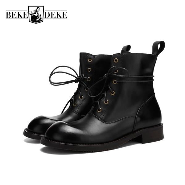Inverno Handmade Couro Do Mens Couro Genuíno Sapatos de Segurança do Trabalho Homem Lace Up Martin Sapatos de Alta Top Botas de Motocicleta Do Vintage Ankle Boots