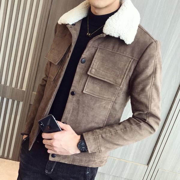 2018 yeni kış sıcaklık meraklısı pamuk kaplı süet deri ceket faux kürk yaka hood erkek paltolar ekstra kalın mont