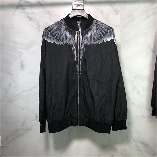 Хип-хоп Марсело Burlon куртка падение Wings Уличная Feather Printed Мода Италия Милан Марсело Burlon Куртки, ветровки Ветровка # 866y