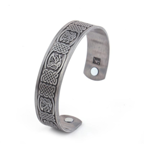 Chinese Dragon Totem Bangles Chinese Buddhism Wiccan Jewelry Stainless Steel Magnetic Health Care Mens Bracelets