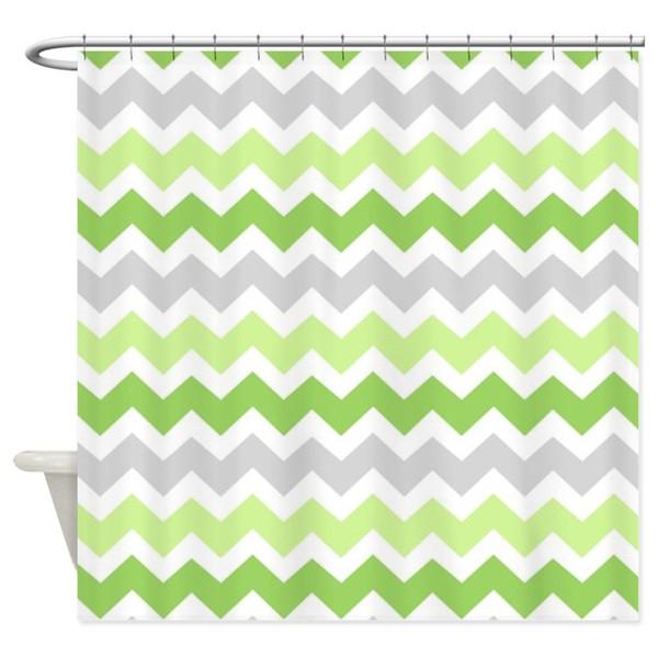 Lime Green Grey Chevron Decorative Fabric Shower Curtain