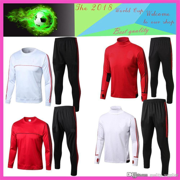 AAA+ New 17 18 19 AC Milan football Training suit 2018 2019 HIGUAIN CALHANOGLU BONUCCI Full soccer jerseys sportswear set tracksuit Chandal