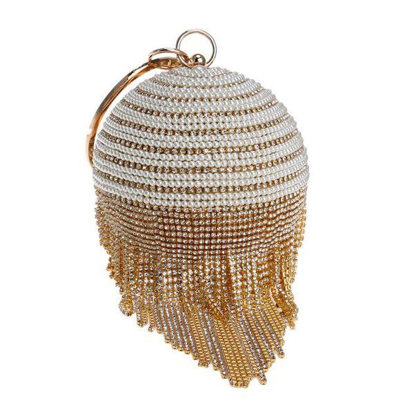 Socialite Gold Women Fashion Crystal Purse Designer Round Tassel Evening Bags Diamond Women Handbags Wedding Beaded Clutch Shopping Purses