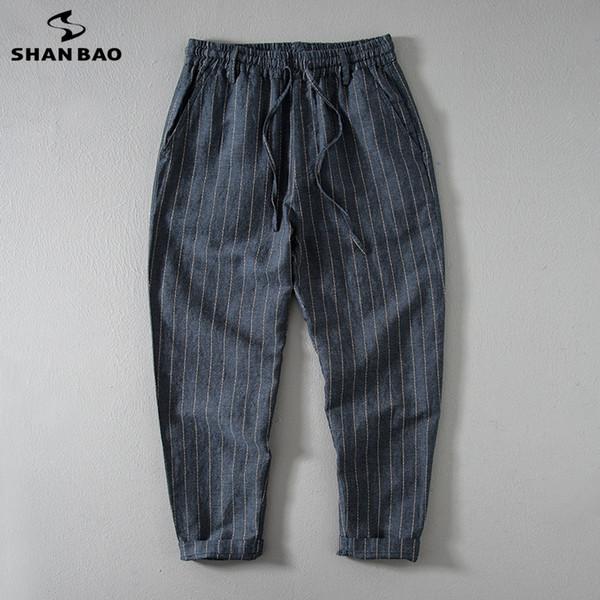 SHANBAO yüksek kalite ince pamuk ve keten gevşek nefes rahat pantolon 2019 yaz elastik bel kravat büyük boy erkek pantolon