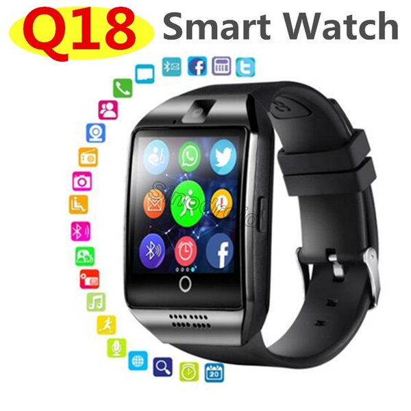 20pcs Q18 Smart Watch Bluetooth Wearable Curved Screen High Quality Support NFC SIM GSM Facebook camera For Android IOS Phone Wristwatch