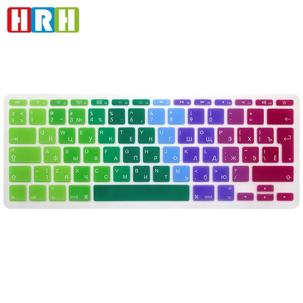 HRH Wholesale Rainbow Russian EU/UK Silicone Gel Keyboard Protector Cover Keypad Skin Protective Film For Mac Book Air 11.6 inch A1465 A1370