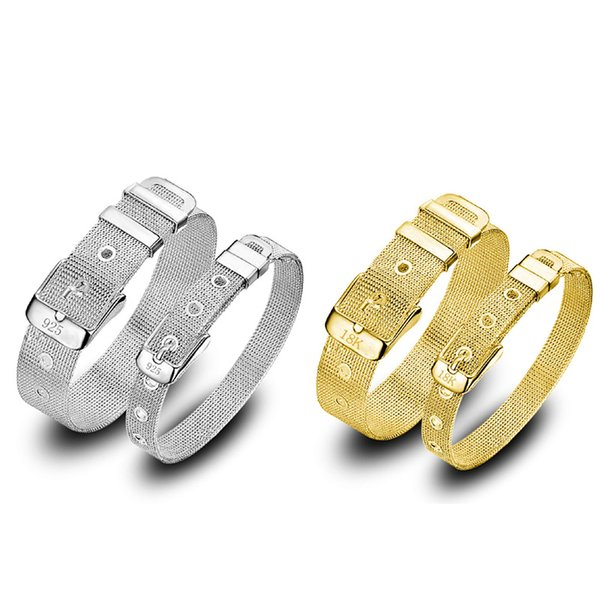 Fashion Watch style strap Bracelets Men Womens Yellow Gold and Silver plated Lovers couples Jewelry Bracelet