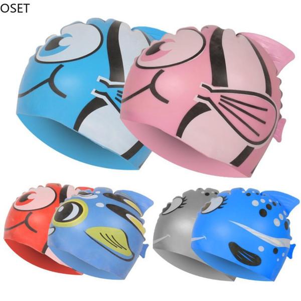 New Kids Children Waterproof Swim Cap Cartoon Animal Swimming Pool Beach Silicone Caps Hat Protect Ears Long Hair For Boys Girls