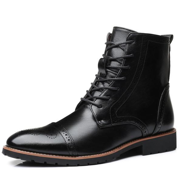 Lüks Sonbahar Kış Erkek Botları Büyük Boy 40-48 Moda High-Cut Dantel-up Rahat Erkekler Ayakkabı Deri Ayakkabı Erkek Ayak Bileği Çizmeler 2.5a