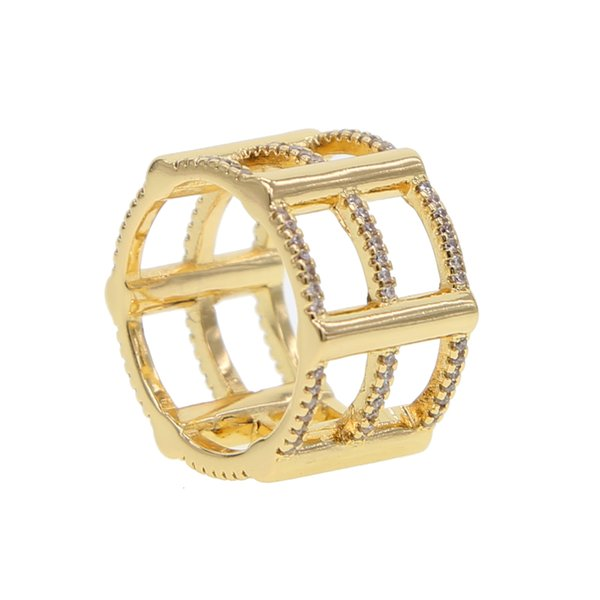 Gold filled 2019 New Fashion 3 Rows Layered big Rings paved mini clear cz Punk Knuckle Rings For Women nice Jewelry Wholesale