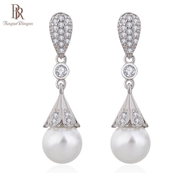 Bague Ringen New Design Long Pearl Earrings for Women Temperament Silver 925 Jewelry Contracted Fashionable Ear drops Weddings