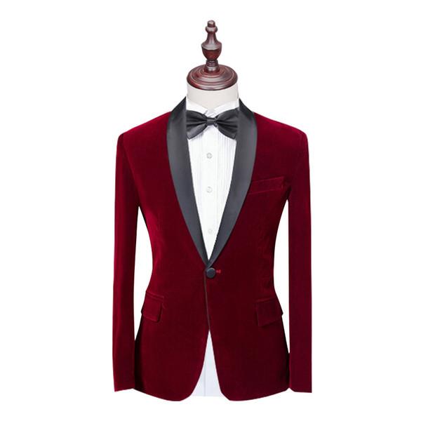 Hot Sale 4 Color Suit jacket Shawl Lapel blazer Velvet Jacket for Man Coat Velvet blazer for Groomsman 1PSc Man