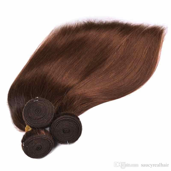 Brazilian Virgin Hair Straight Wave 95g/pc Unprocessed Brazilian Human Hair Weaves Bundles Brown Color 4# 3pcs one Lot