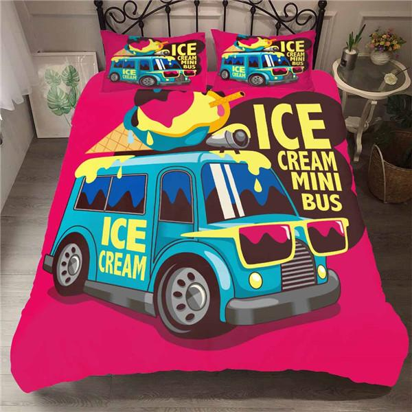 3D Ice Cream Mini Bus and Pineapple Drinks Design Bedding Set Duvet Cover and Pillow Case