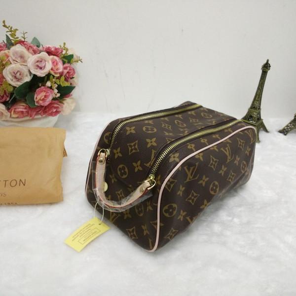 Rectangular handbag female travel cosmetic bag new designer high quality men's wash bag brand double zipper cosmetic bag